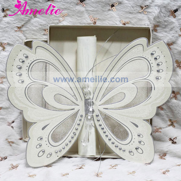 50Pcs/Lot Wholesale With Gift Box Elegant Wedding Invites Scroll Ivory Wedding Invitation Cards With Free Shipping DHL/FEDEX