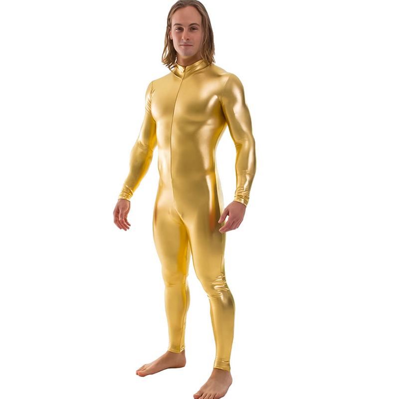 Shiny Metallic Zentai Bodysuit Men Long Sleeve Front Zip Unitard Costumes Ballroom Performer Clothes Nightclub Onstage