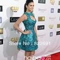 Frete grátis Celebridade vestido de ouro global Awards Nina Dobrev Off The Custome ombro Na Altura Do Joelho vestido de Baile de Cristal de Seda