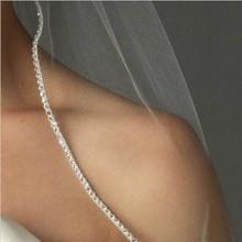 שמפניה לבן שנהב חתונת אבזר קתדרלת קריסטל קצה תפור לפי מידה אורך 1 t כלה רעלה עם מתכת מסרק