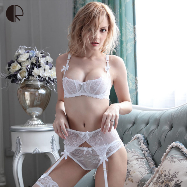 Plus Size Women Sexy Bra Set Underwear Intimates Lace Half Cup Lingerie Thin Temptation Black  White Bra And Panty WI420