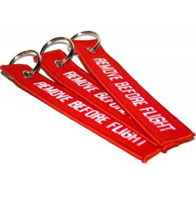 65e1c0723c 500pcs by DHL Red Remove Before Flight Embroidered Canvas Specil Luggage Tag  Label Key Chain car key ring chain Gift