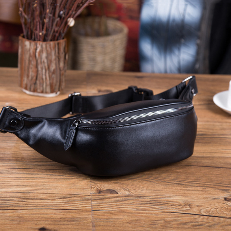Fashion Soft PU Leather Men Belt Bag Unisex High-quality Waterproof Waist Bags New Men's Crossbody Chest Bag Boys Shoulder Bags