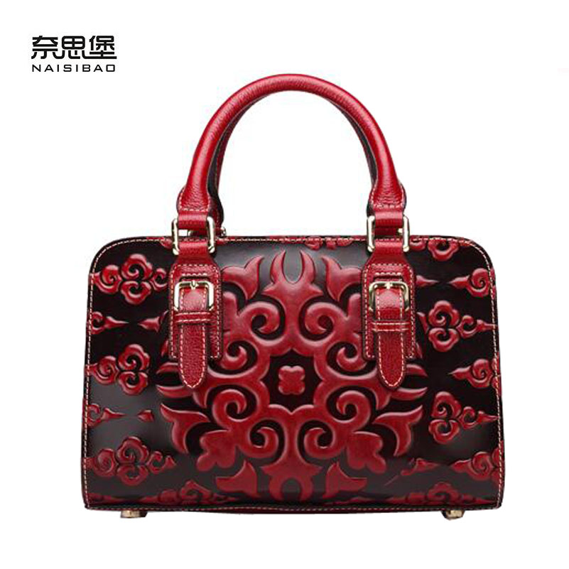 Women bag 2017 New genuine leather bag chinese style high quality leather embossing fashion women handbags shoulder bag