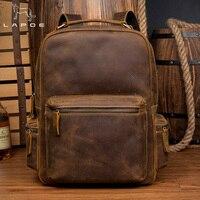 LAPOE Винтаж crazy horse Натуральная кожаный рюкзак mochilas escolares para adolescente meninas рюкзак школьный для женщин Человек сумка