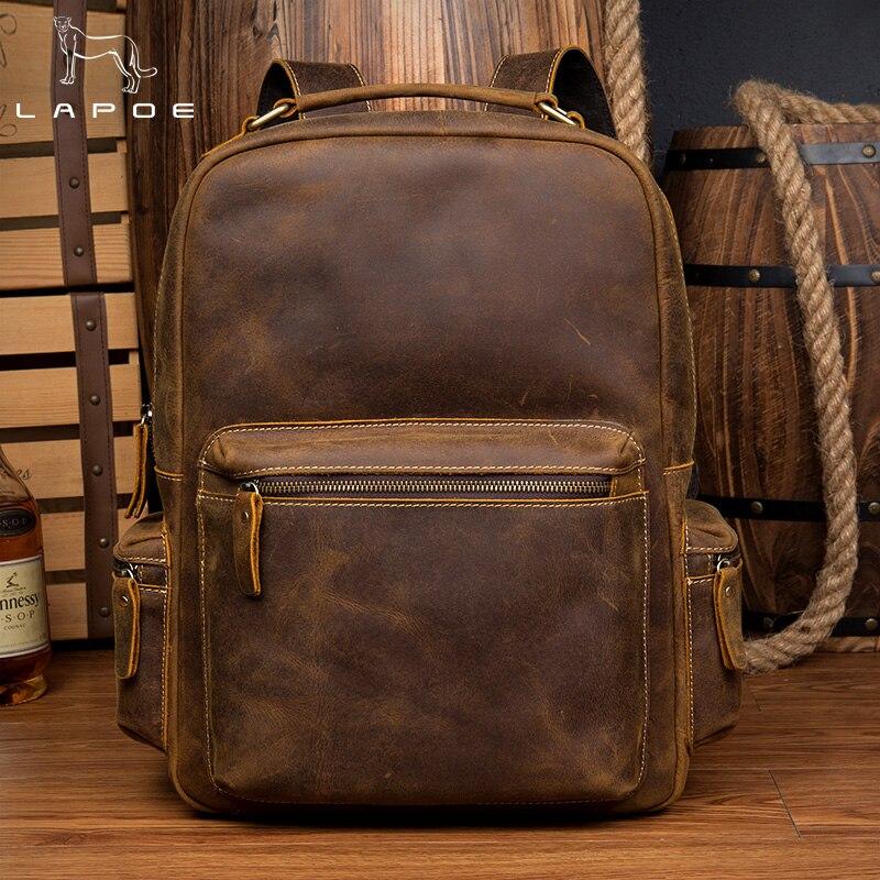 LAPOE vintage crazy horse véritable sac à dos en cuir sac mochilas escolares par adolescente meninas sac à dos école femmes homme sac
