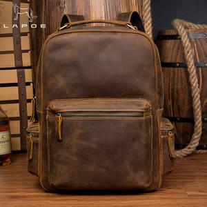 e36430284e10 LAPOE vintage genuine leather backpack school women man bag