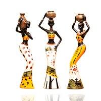 3 Pcs Set Creative African Lady Resin Figurine Handmade Decorative Art Craft Dolls Ornament For Home
