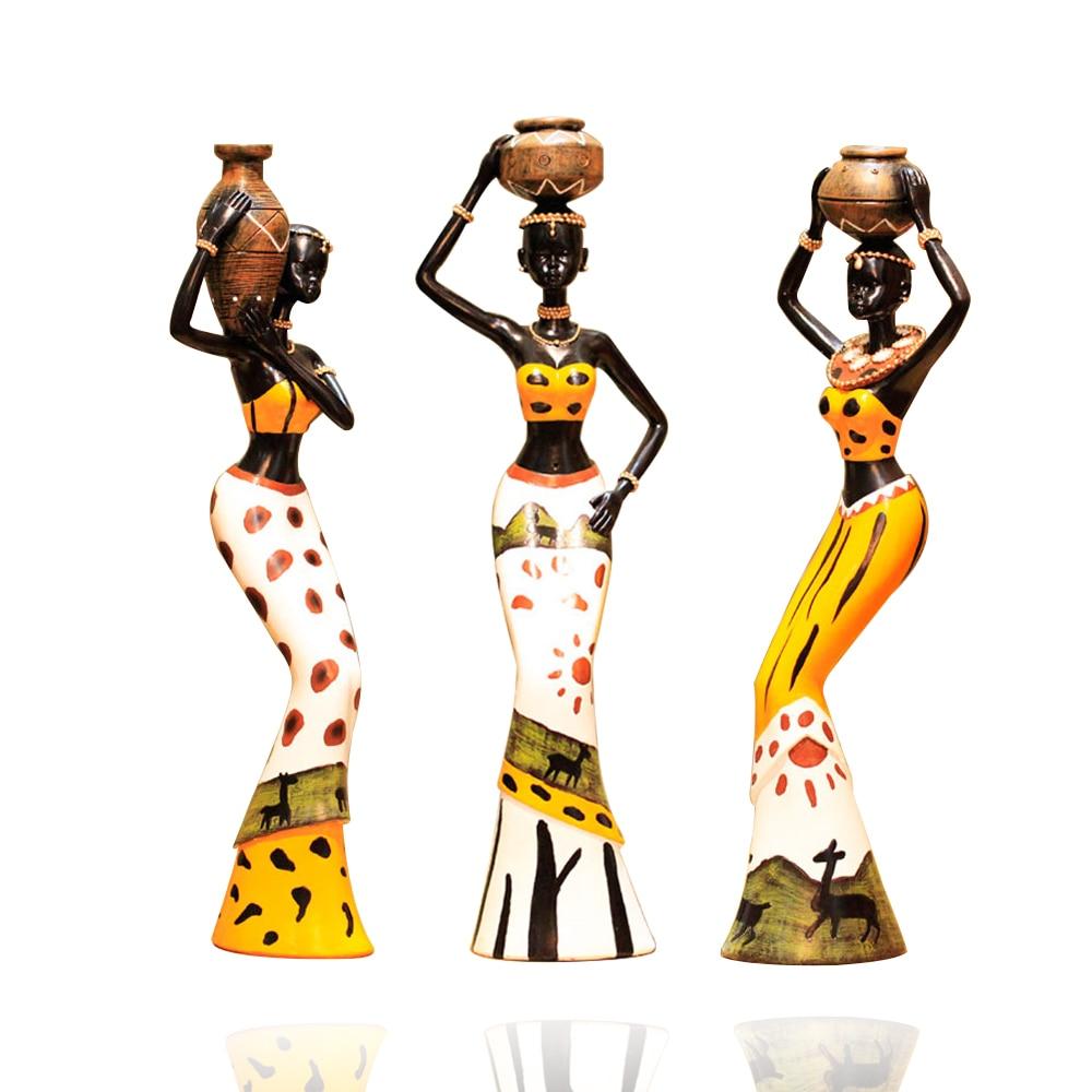 Resin for arts and crafts - Arsmundi 3pcs Set Creative African Lady Resin Figurine Handmade Decorative Art Craft Dolls Ornament For