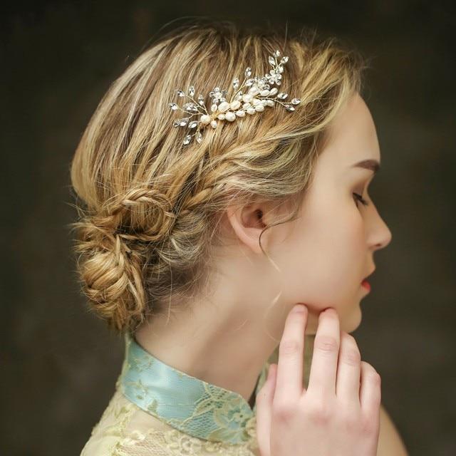Jonnafe Elegant Gold Floral Hair Accessories Wedding Combs Handmade Tiara  Bridal Hair Comb Women Pearl Hair Jewelry 4a3ec7044789
