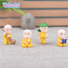 4pcs Buddhist Monks Model Chinese action Figure Miniature Figurine home Garden Dollhouse Decoration DIY Accessory toy gift