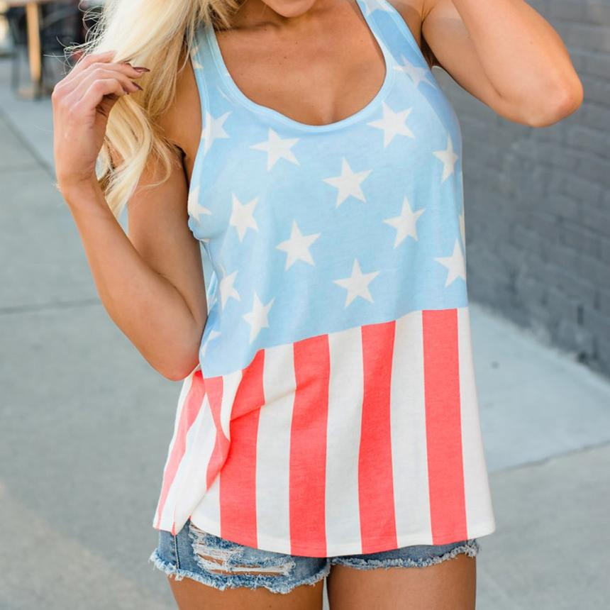 2018 Vests Style Summer Sexy American USA Flag Print Sleeveless Tops Stripes Tank Top for Women Blouse Vest  femal clothing wom