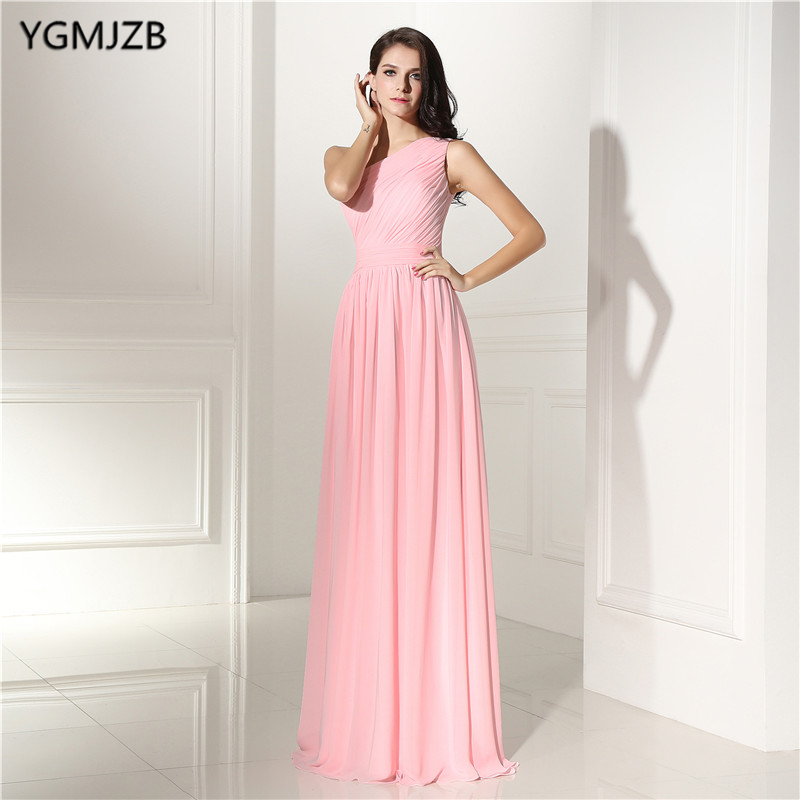 Robes de demoiselle d'honneur rose longue grande taille une épaule en mousseline de soie une ligne sans manches en dentelle perlée longueur de plancher robe de soirée de mariage