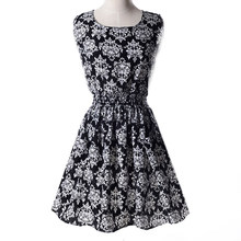 2017 NEW Lady's Sleeveless O-neck Flower Printed Casual Mini Dress--Black blue and white porcelain Asian/US Size(China)