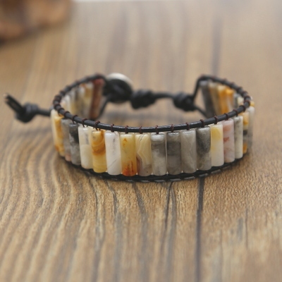 Boho Leather Beaded Wrap Bracelet for Women