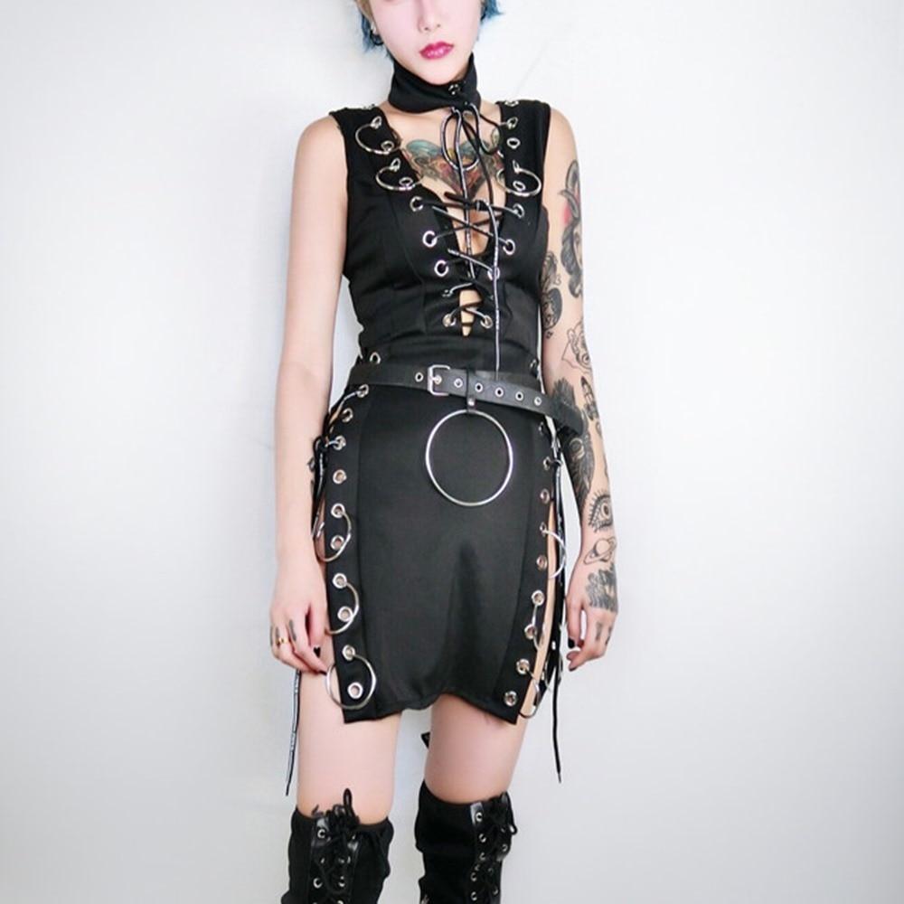Gothic Black Split Sexy Mini Dresses Costume Women Fashion 2018 Sleeveless Bandage Hoop Cool DJ Jazz Dance Nightclub Girls Dress