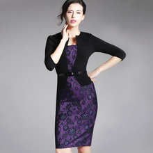 One-piece False Jacket Women Plaid Office Dress Female Autumn Winter Vintage Outfits Lady Bodycon Pencil Fitted Dresses HB237