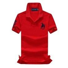 abundance flloh Summer 100% cotton men shirts Big horse Polo collar short slits classic fit polo