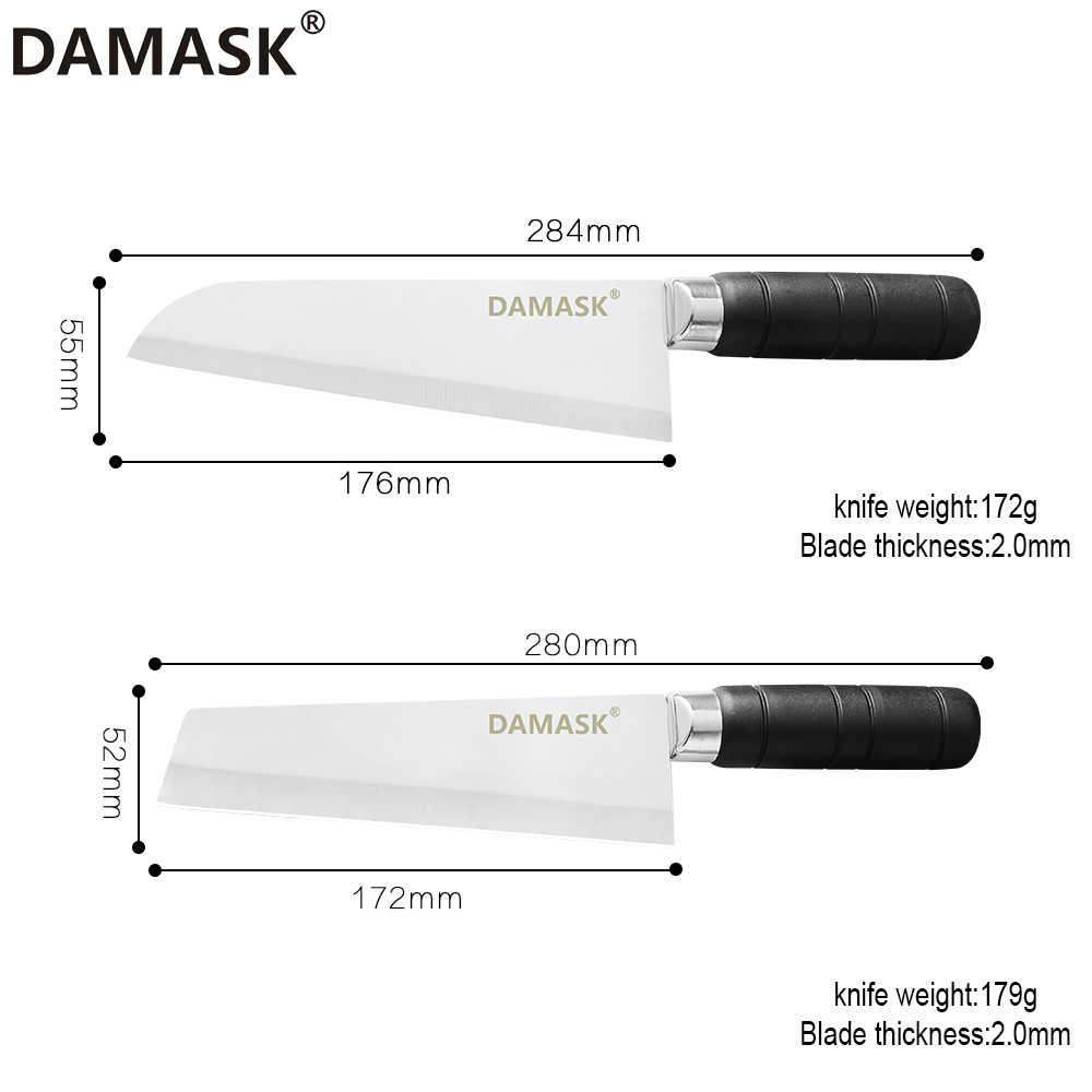 Дамасский нож шеф-повара из нержавеющей стали 7 дюймов, кухонный нож с ручкой и помпоном, нож для овощей Santoku Nakiri, профессиональные инструменты для приготовления пищи