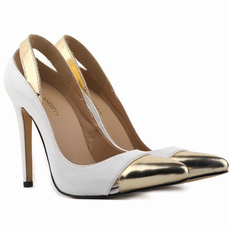 Sexy Patchwork Golden Pointed Toe High Heels Size 34 42 New Brand Wedding Pumps Shoes 14 Colors mujer