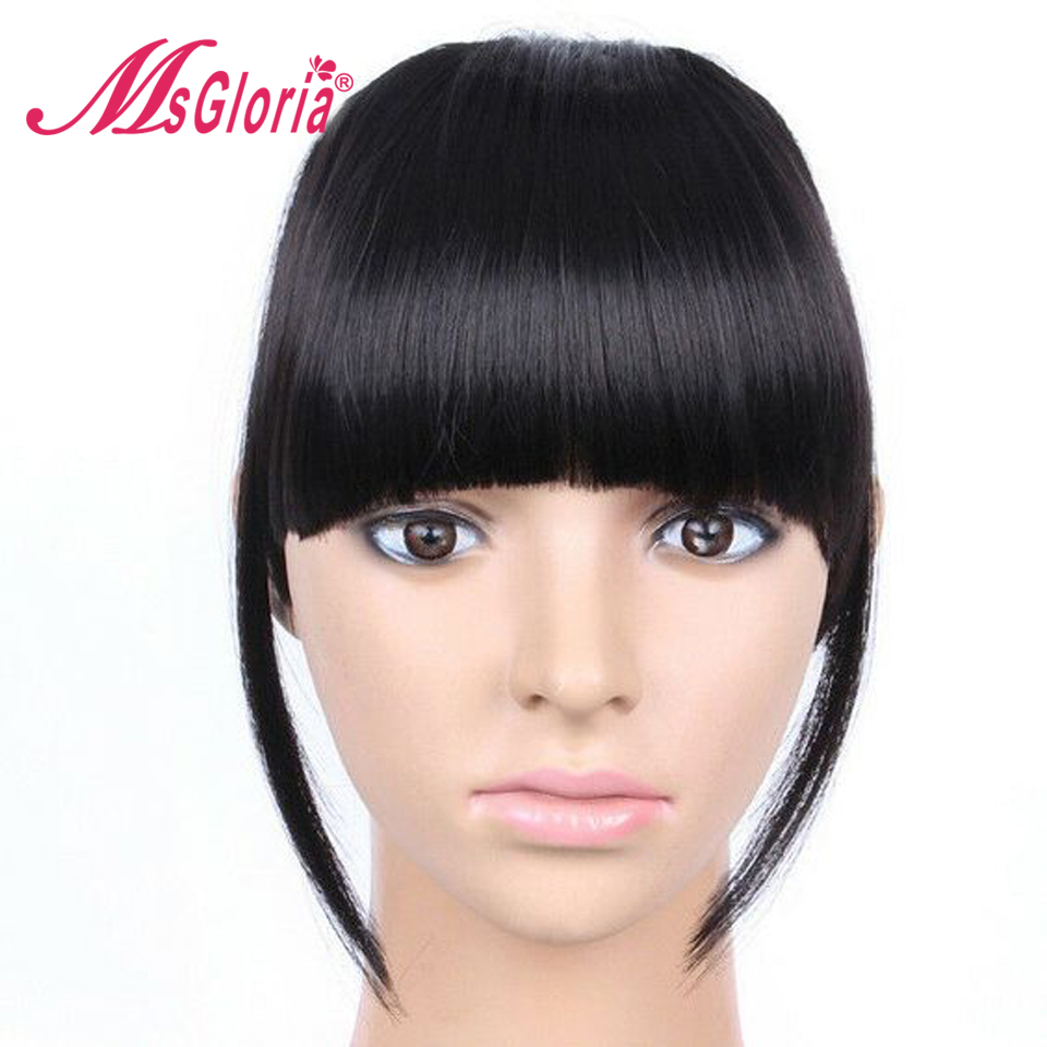 100% Brazilian Remy Hair Front 6 Inch Hair Bangs Natural Black Color Clip In Human Hair Extensions 1PC Blunt Bangs(China)