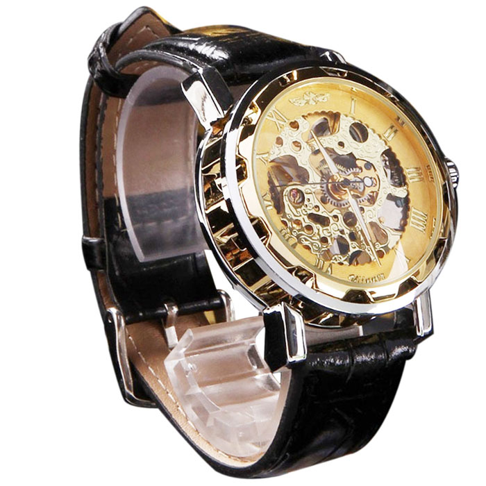 Paradise 2017 Hot Men's Classic Black Imitation Leather Gold Dial Skeleton Mechanical Sport Army Wrist Watch Apr12 hot classic men s black leather dial skeleton mechanical sport army wrist watch new relogio masculino horloges mannen 6050310