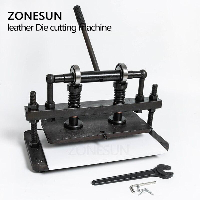 ZONESUN 3616 cm doble rueda de mano de cuero cortadora de papel fotográfico PVC/EVA hoja molde cortador de cuero troquelado máquina Herramienta - 6