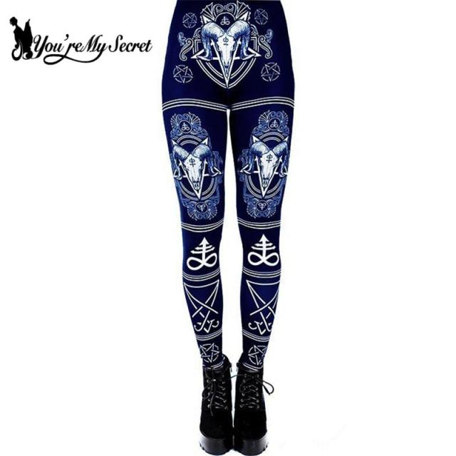 3D Digital Printed Devil Satan Women Leggings For Fitness Goat Horn Hexagram Pants Elastic Workout S-XL 4 colors