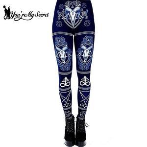 Image 4 - [Youre My Secret] 3D Printed Ouija Devil Satan Women Leggings For Fitness Goat Horn Hexagram Pants Elastic Workout Legin