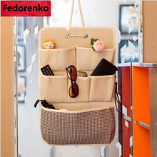Door wall hanging organizer with 6 pockets sundry cotton bag Cotton linen wardrobe closet storage space
