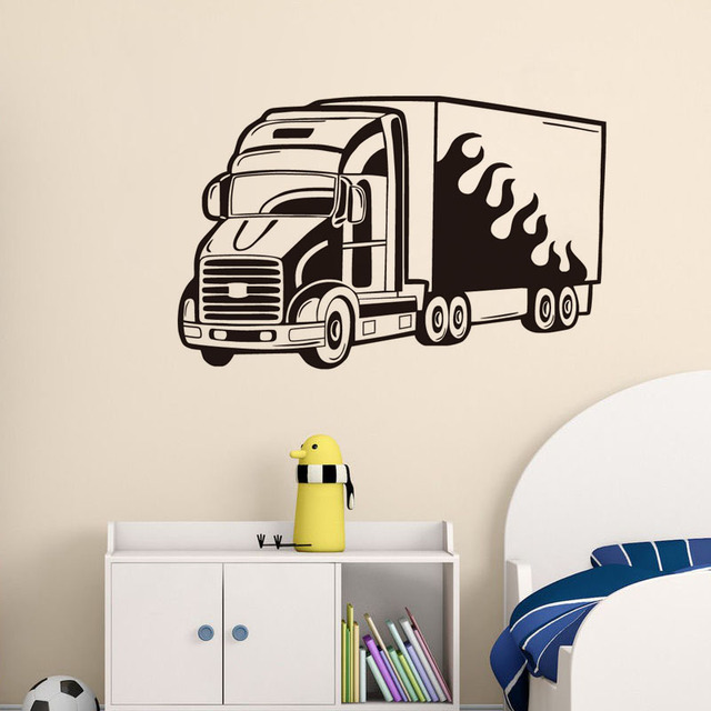 dctop living room home decor big truck vinyl wall stickers removable