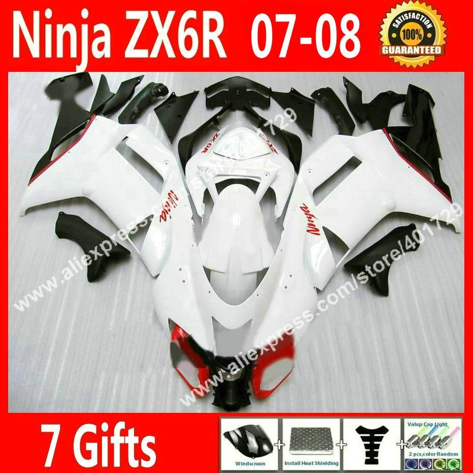 Высокое качество Обтекатели для мотоцикл Kawasaki ниндзя запросу zx6r 2007 2008 636 07 08 черный белый зализа комплекты 7 подарок DKL7