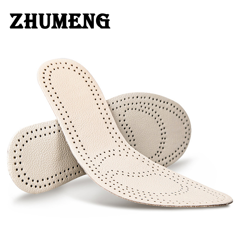 ZHUMENG Men Insoles for Dress Shoes and Casual Shoes Leather Insole Deodorant Sweat Motion Damping Breathable Spring and Summer soumit new style breathable lightweight leather insole genuine soft cowhide sweat absorbent insoles for men and women shoes pads