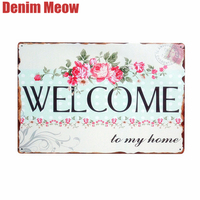 Lovely Flower WELCOME To My Home Iron Metal Poster Tin Sign Plate Wall Decoration Vintage Art Painting Family Rule Plaque A392