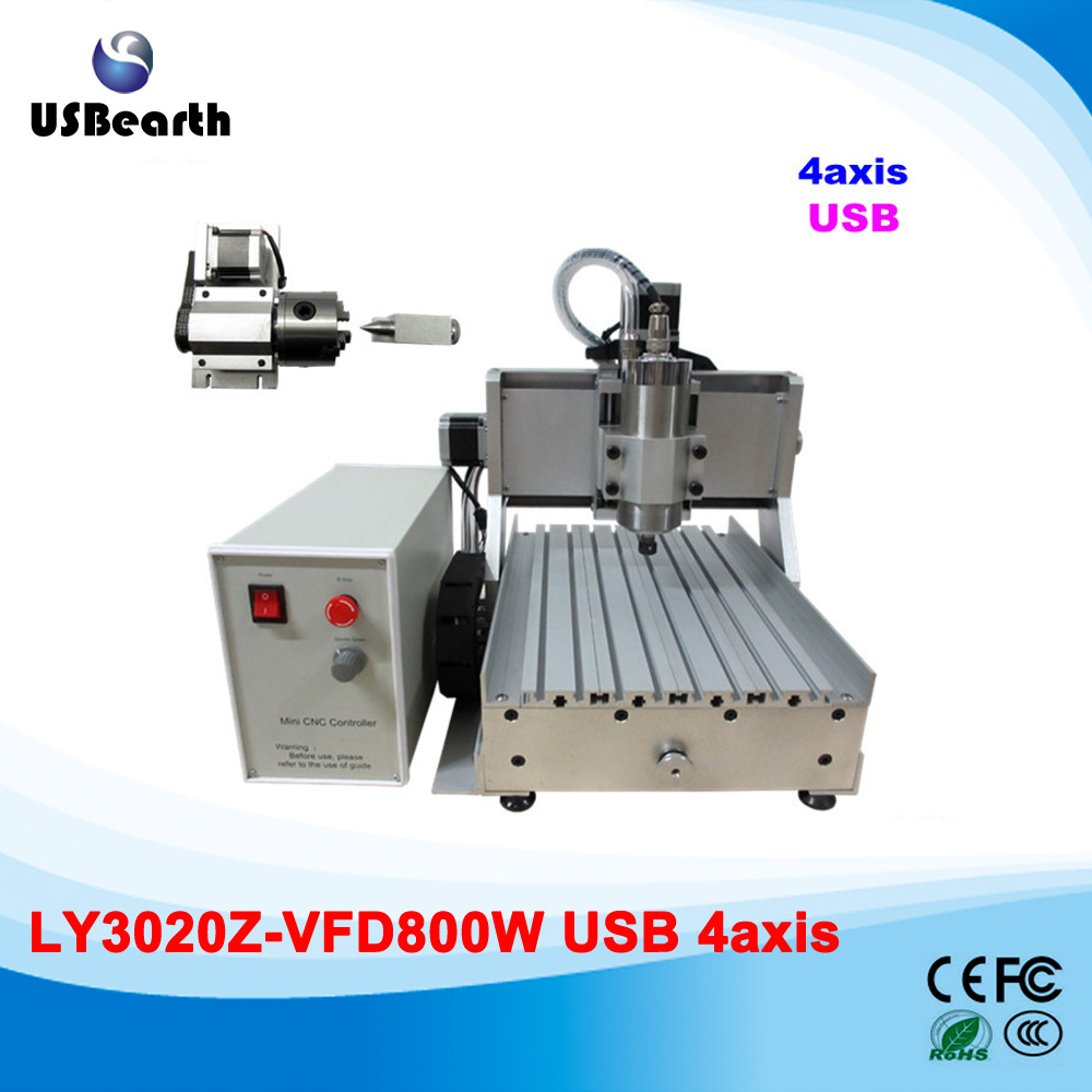 Free shipping 4axis cnc router machine Hot sale 2030 800w woodworking cnc router  with CE USB port  free dhl ft high speed 3 axis 800w affordable cnc router with parellel port precision drilling machine for woodworking 6090