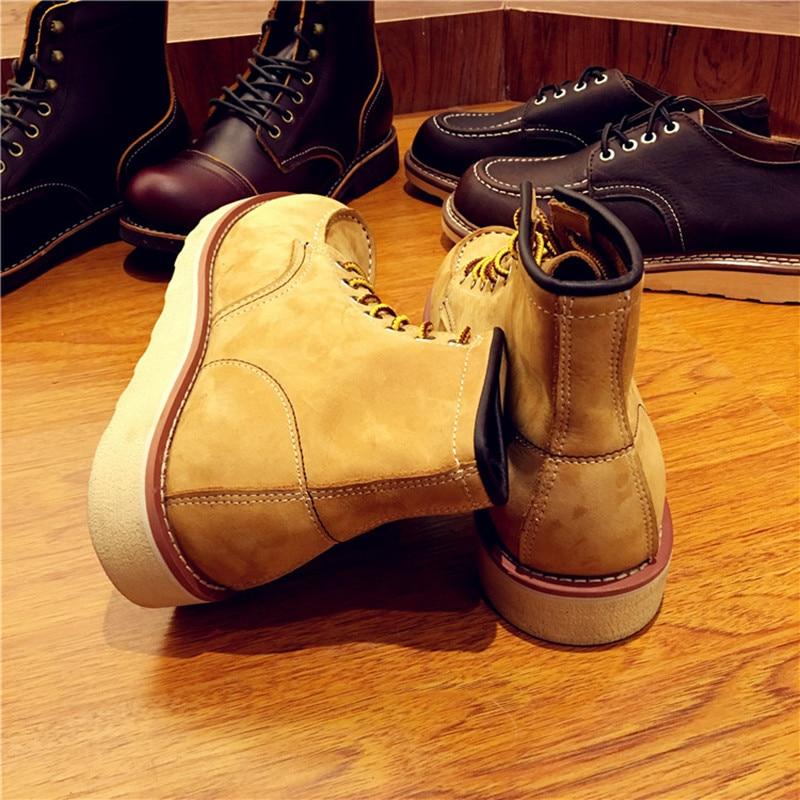 Винтажные мужские ботинки из натуральной кожи на шнуровке мужские рабочие свадебные ботильоны ручной работы повседневные модные красные б... - 4
