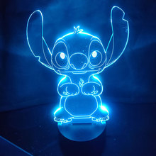 Stitch Cartoon 3D Table Lamp Acrylic Panel USB Cable 7 Colors Change Touch Night Light Bedroom Home Decor Kids Christmas Gift недорого