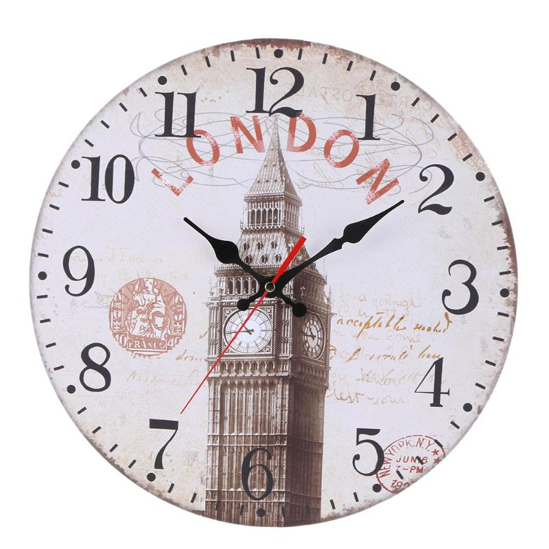 30cm Creative Wooden Round Wall Clock Hanging Vintage Mute 3D Mute Clock Wall Clock Retro Look Design Craft Home Office Decor