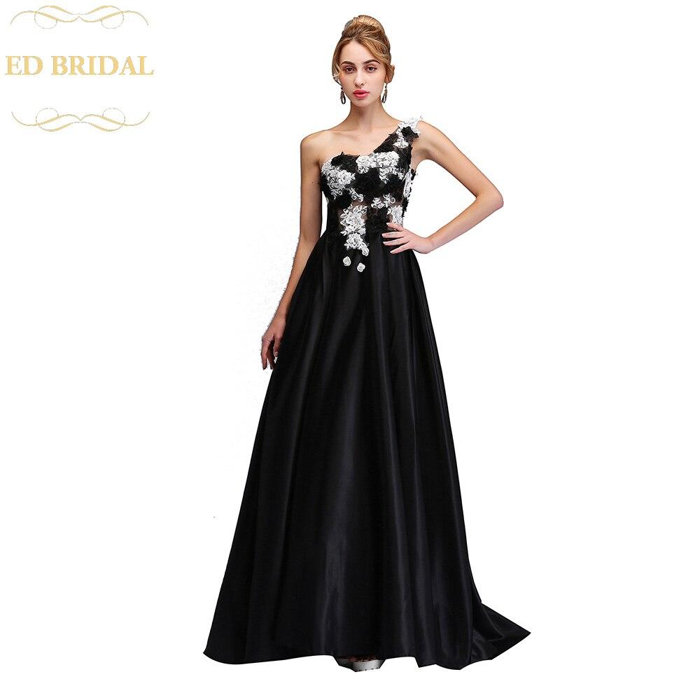 2018 Luxury Black Satin Evening Dress The Banquet Elegant One ...