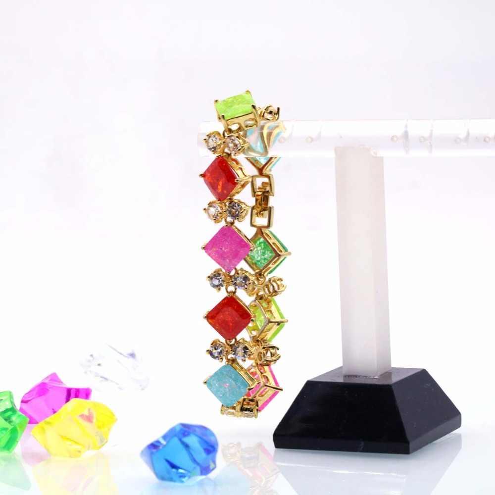 JINYAO Fashion Champagne Gold Color Zircon Charm Wrist Bracelet Bangle For Women Jewelry pulseira feminin Mother's Day Gift