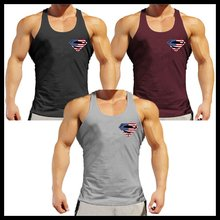 OA Men Superman Muscle Fit American Flag Workout Superman Tank Tops Gym Bodybuilding Tanks Outfits Singlets Stringer US Flag(China)