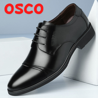 OSCO Autumn Winter New Breathable Business Dress Shoes Men's Split Leather Pointed Formal Men Derby Shoes Lace up Office Oxfords