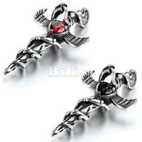 NEW HOT Stainless Steel Angel Wing Cross Pendant With Crystal Punk Mens Necklace With 22 Inch
