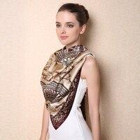 حجم كبير مربع وشاح الحرير 100% التوت الحرير والأوشحة شالات مروحة الكلاسيكية المطبوعة نمط أزياء أنيقة سيدة شال F506