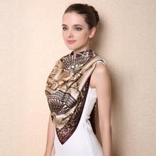 Large Size Square Silk Scarf 100% Mulberry Silk Scarves Shawls Classic Fan Printed Style Fashion Elegant Lady Shawl F506 bedspread ethel silk mediterranean style size 180 220 cm faux silk 100% n a