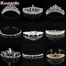 Katesolo Princess Queen Crystal Tiaras & Crowns Headband Comb Kid Girls Love Bridal Prom Wedding Party Accessiories Hair Jewelry(China)