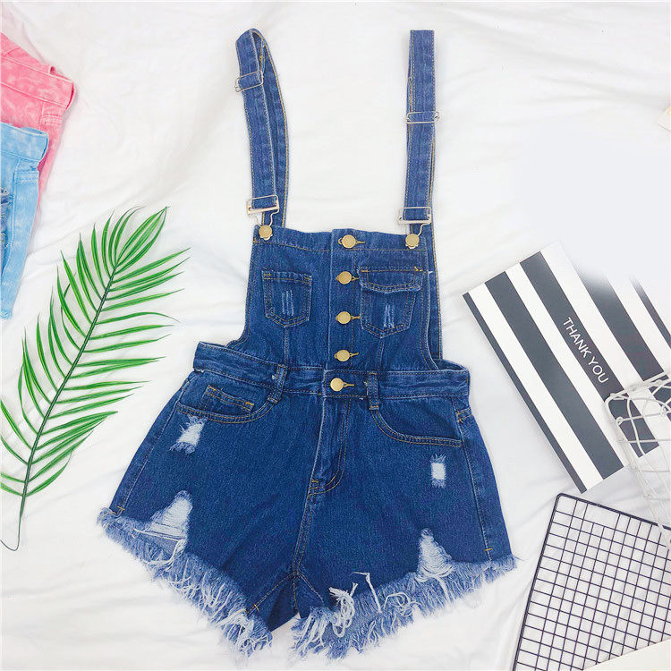 The new loose-fitting Korean version of the springsummer 2017 denim suspenders for female students shows a trend of slim, worsted fringed tassel shorts (10)