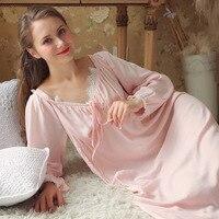 Women Cotton Long Sleeve Night Dress Winter Nightdress Lace Nightgown For Women Sleepwear Nightwear Home Dress Nightshirt