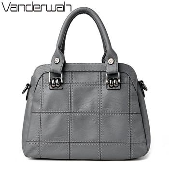 VANDERWAH  TOTE Genuine Leather bags handbags women famous brands casual large capacity big shoulder crossbody bags female bag grande bolsas femininas de couro