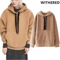 Withered BTS Hoodies Sweatshirt Women High Street Fleece Hooded Thick Warm Drop Shoulder Plush Women Winter